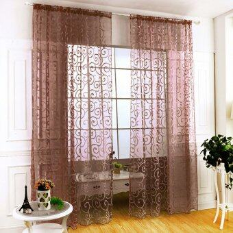 Yika Floral Tulle Voile Sheer Door Window Curtains Drape Valances(Coffee)