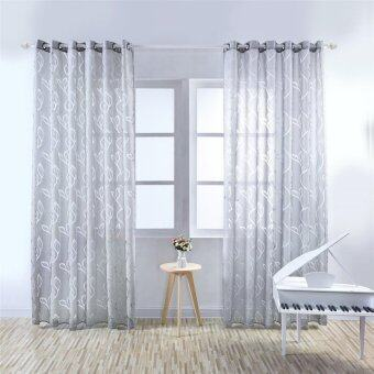 Yika Sheer Screen Divider Door Window Tulle Curtain Balcony DrapeRoom Leaf Valances