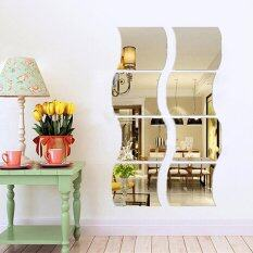 yingwei 6pcsset acrylic wave mirror wall sticker gold - Home Decor Malaysia