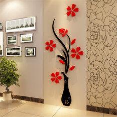 32xx80cm 3d vase flower plum arcylic wall stickers entrance diy art home room tv decor