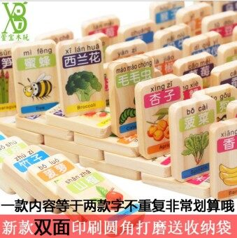 100 double-sided fruit animal Domino building blocks