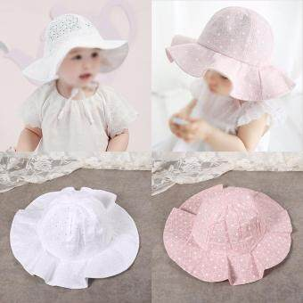 1Pc Toddler Infant Kids Cotton Sun Cap Outdoor Beach Baby GirlsLovely Summer Hat (White)