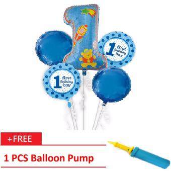 1st Birthday Foil Balloon Bouquet 5 in 1 Balloon Party (FREE Balloon Pump)