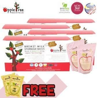 4x Apple Tree Breastmilk Storage Bag (100pcs) 8oz* + FOC Apple Tree2pcs Ice Pack