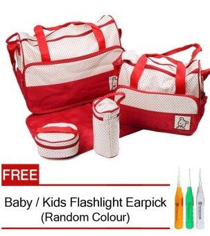 5 in 1 Mummy Essential Diaper Bag (Red) FREE Baby / Kids Flashlight Earpick