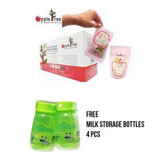 Apple Tree - Breastmilk Storage Bag 8oz (100 bags) FREE 4 Bottle