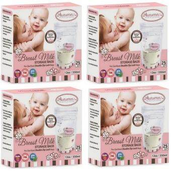 Autumnz Double ZipLock Breastmilk Storage Bag 12oz (4 Boxes) 100pcs