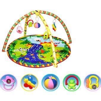 Baby Activity Gym Travel Soft Play Mat Blanket with Frame RattleCrawling Developmental Toy (SUN)