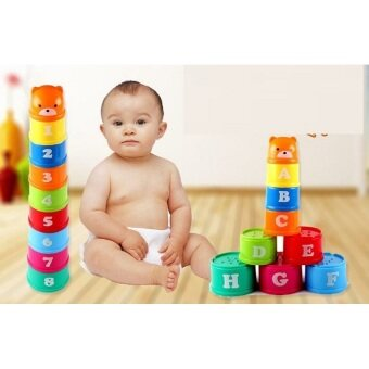 Baby Toy Children Kid Educational Figures Letters Numbers Plastic Cup Tower