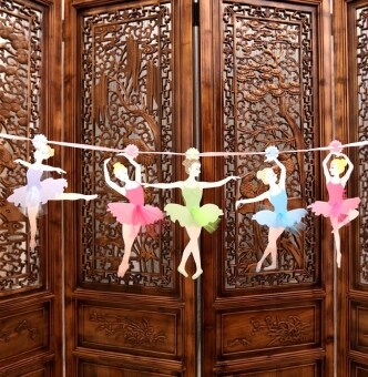 Birthday party decoration decorative dress letter banners ballet dance girl banners birthday triangle flag garland