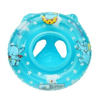 Cartoon Elephant Baby Infant Inflatable Seat Security Swimming PoolFloat Swim Ring Under Arm Bath Ring with Handle Blue