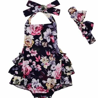 Cute Baby Girls Floral Ruffle Romper Jumpsuit Dress HeadbandOutfits Clothes Black