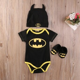 Cute Newborn Baby Boys Infant Rompers+Shoes+Hat 3Pcs Outfit ClothesSet Short Sleeve 0-24M (0-6 Months)