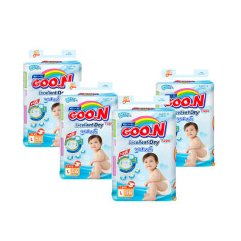 Goo.N Premium Tape SUPER Jumbo L Size (56 pcs) x 4 Packs GooN Super Dry Diaper & Slim Diapers