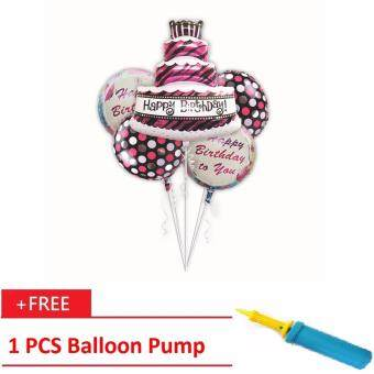 Happy Birthday Foil Balloon Bouquet 5 in 1 Balloon(Free Balloon Pump)