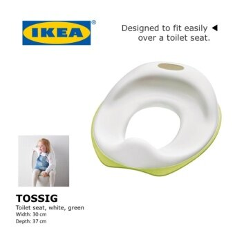IKEA TOSSIG Toilet seat for toilet training (fits on toilet seats), white, green