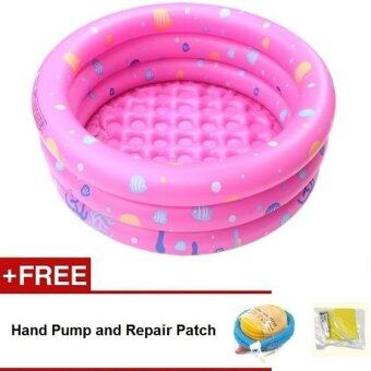 Intime Inflatable Round Swimming Pool 100x42CM (Pink) + Hand Pump and Repair Patch