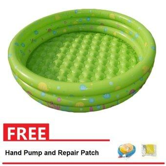 Intime Inflatable Round Swimming Pool 130x42CM (Green) + Hand Pumpand Repair Patch