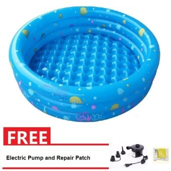 Intime Inflatable Round Swimming Pool 150x42CM (Blue) + Electric Pump and Repair Patch