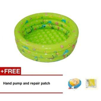 Intime Inflatable Round Swimming Pool 80x28CM (Green) + Hand Pumpand Repair Patch