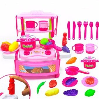 Kitchen Series Cook Happy Happy Kitchen PlaySet Children Portable Toy Play Set Educational Toys Kids babies (Pink)