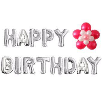 Letter Happy Birthday Balloon Aluminum Foil Balloons for Birthday Party Decoration(SILVER)