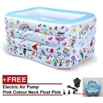 LittleOneBaby High Quality 4 Layer Inflatable Baby SPA Swimming Pool 140x110x75cm Free Electric Pump Free Baby Neck Ring Blue