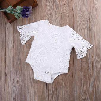 New Newborn Baby Girl White Lace Floral Romper Jumpsuit Bodysuit