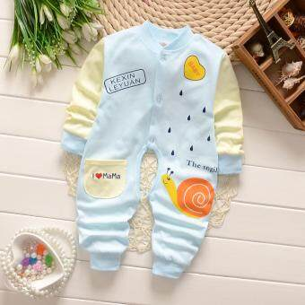 Newborn Cotton Baby Boys Girls Blue Snail Clothes Baby Rompers Long Sleeve Body Suits Jumpsuits