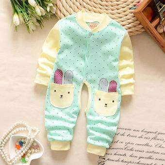 Newborn Cotton Baby Boys Girls Green Rabbit Clothes Baby Rompers Long Sleeve Body Suits Jumpsuits