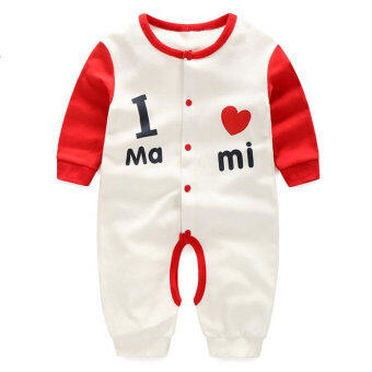 Newborn Cotton Baby Boys I love mami Clothes Baby Rompers Long Sleeve Body Suits Jumpsuits