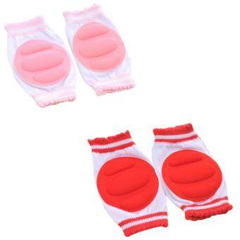 PAlight 2 Pair New Protective Crawling Knee/Elbow Pads ForChild/Baby/Infant/Toddler (Pink+Red)