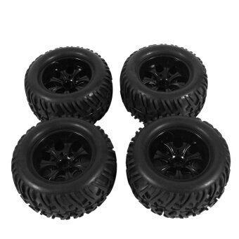Rubber Sponge Tires & Wheel Rims For HSP 1:10 Bigfoot TruckBlack