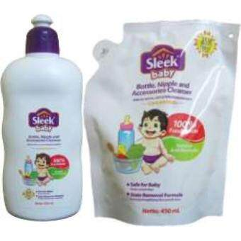SLEEK BABY BOTTLE, NIPPLE & ACC CLEANSER CONCENTRATE 500ml + 450ml REFILL PACK