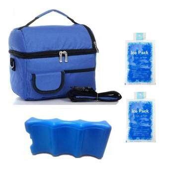V-Coool Double Layer Cooler Bag Ice Brick Combo (Blue)