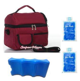 V-Coool Double Layer Cooler Bag Ice Brick Combo (Maroon)