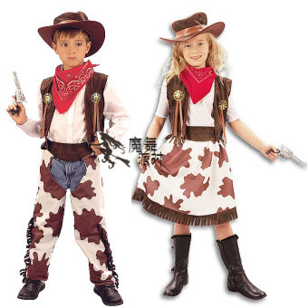 Western Halloween adult children's men and women cowboy clothes