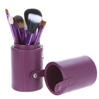 12 PCS Makeup Brush Set Cosmetic Brushes Make up Tool + Cup LeatherHolder Case Purple