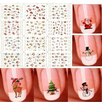 12 Sheet Christmas 3D DIY Design Nail Art Stickers Nail DecalsDecoration