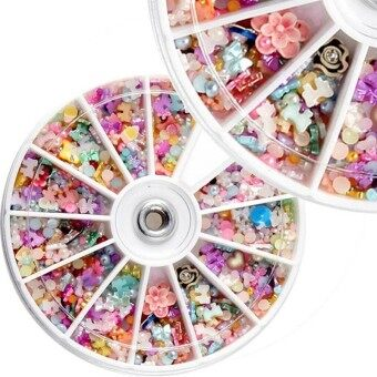 1200PCS Wheel Mixed Nail Art Tips Glitters Rhinestones SliceDecoration Decal Sticker Manicure