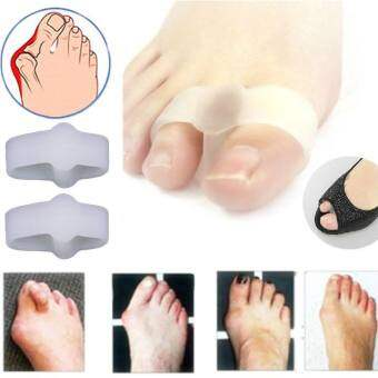 2 Holes Pain Relief Bunion Hallux Valgus Foot Toe Gel SeparatorsStretchers Straightener Feet Care Health Care Product,White