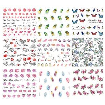 50 Sheets DIY Water Transfer Tips Nail Decoration Art Sticker DecalFingernail Stickers Tool Random Style