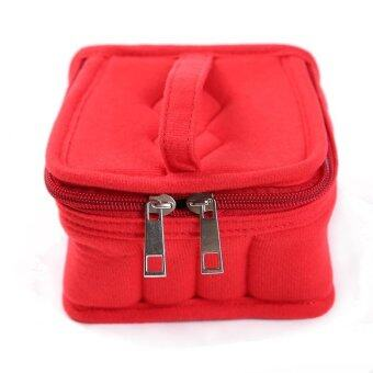 Ai Home Double Zipper 16 Bottles Essential Oil Bag Carrying CaseCosmetic Makeup Bag (Red)