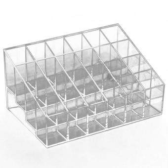 Clear Acrylic 24 Lipstick Holder Display Stand Cosmetic Storage Rack Organizer Makeup Make up Case Box