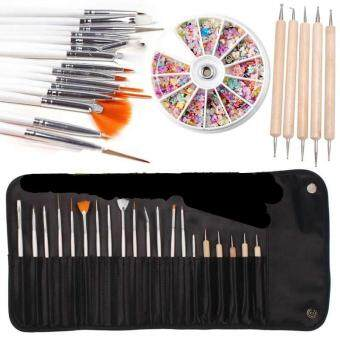 DIY Nail Art Decor Set 5pcs Dotting Tools + 15pcs Nail Art Brush with Bag + 1 Pack Rhinestone Nail Stickers