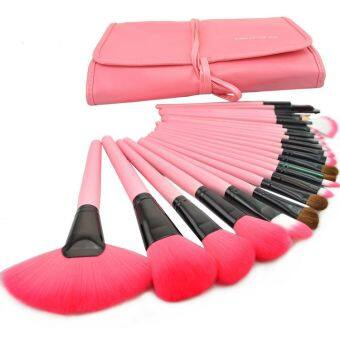 Make Up For You 24 pcs Pink Cosmetic Brushes Set with Pouch Bag