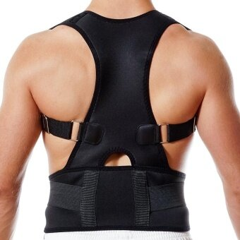 Unisex Adjustable Back Posture Corrector Brace Back ShoulderSupport Belt Posture Correction Belt for Men Women Black (BlackXXL)