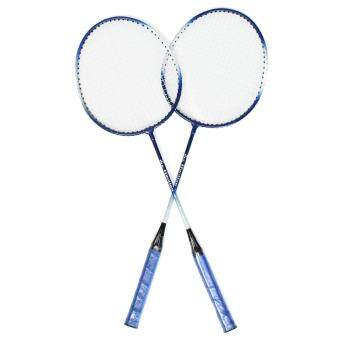 1 Pair Blue Aluminium Alloy High-strength Badminton Racket With Racquet Bag New