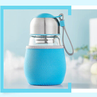 400ML Borosilicate Glass Water Travel Bottle BPA Free With Tea Filter Protective Blue