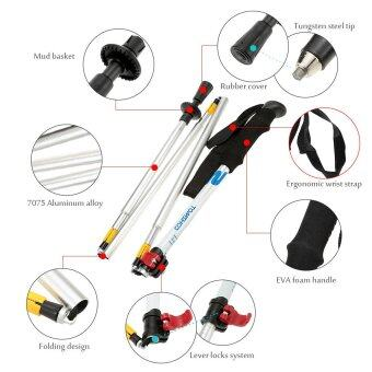 Alloy Folding Adjustable Telescopic Hiking Walking Stick TrekkingPole 5 Section with External Level Lock